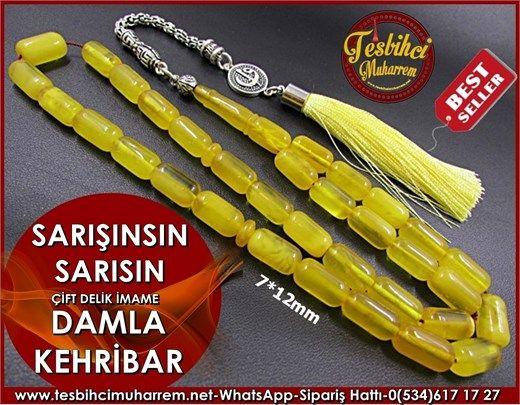 Damla Kehribar Tesbih 7*12 mm Sarışınsın Sarısın Ürün Kodu: TM6987