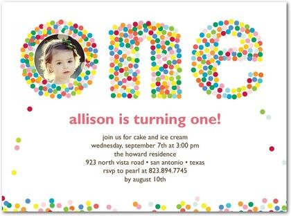 Birthday Party Invitations Colorful Confetti - Front  White - invitation card for ist birthday