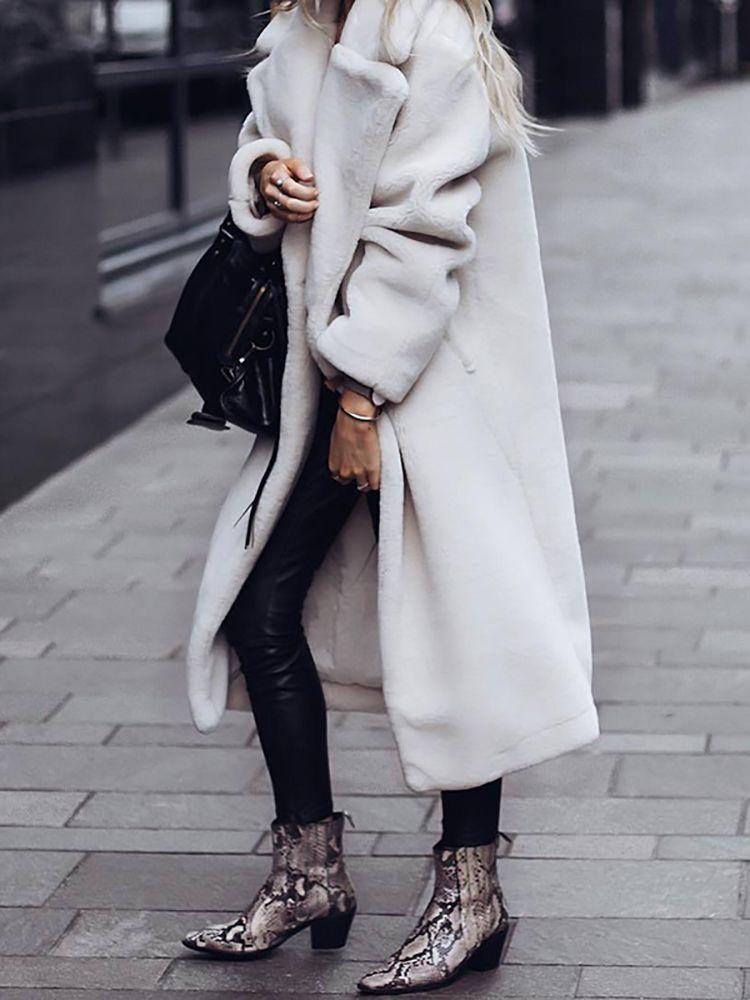 Mode reine Farbe Revers einreihige Schnalle Mantel – sissbest   – Outfit