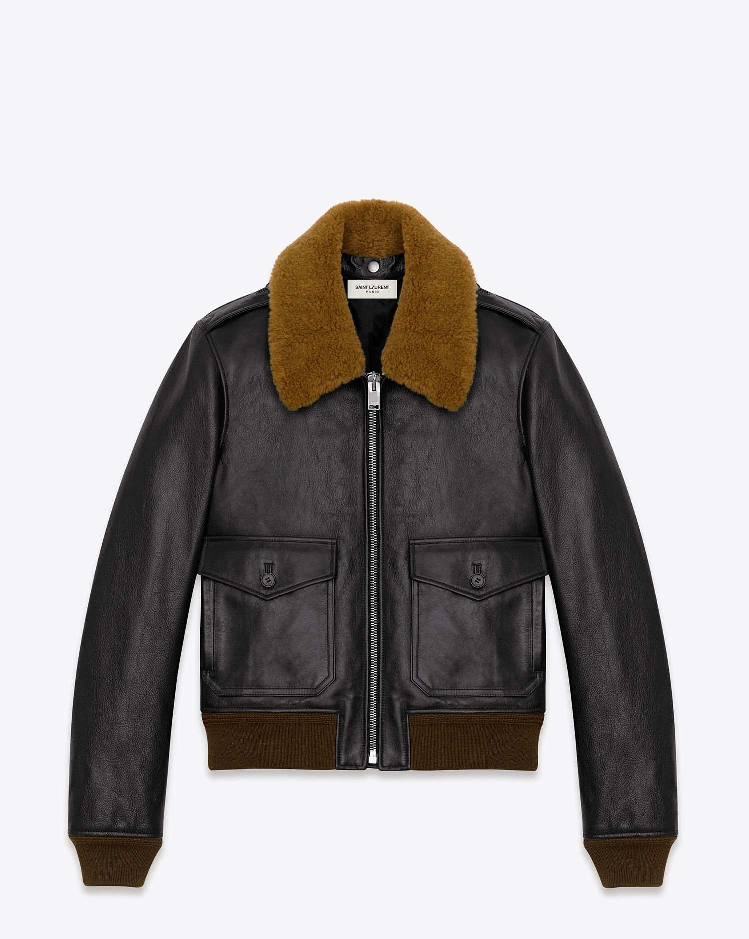 59ddf5530f047 Saint Laurent Classic Flight Jacket In Black Leather And Brown Shearling