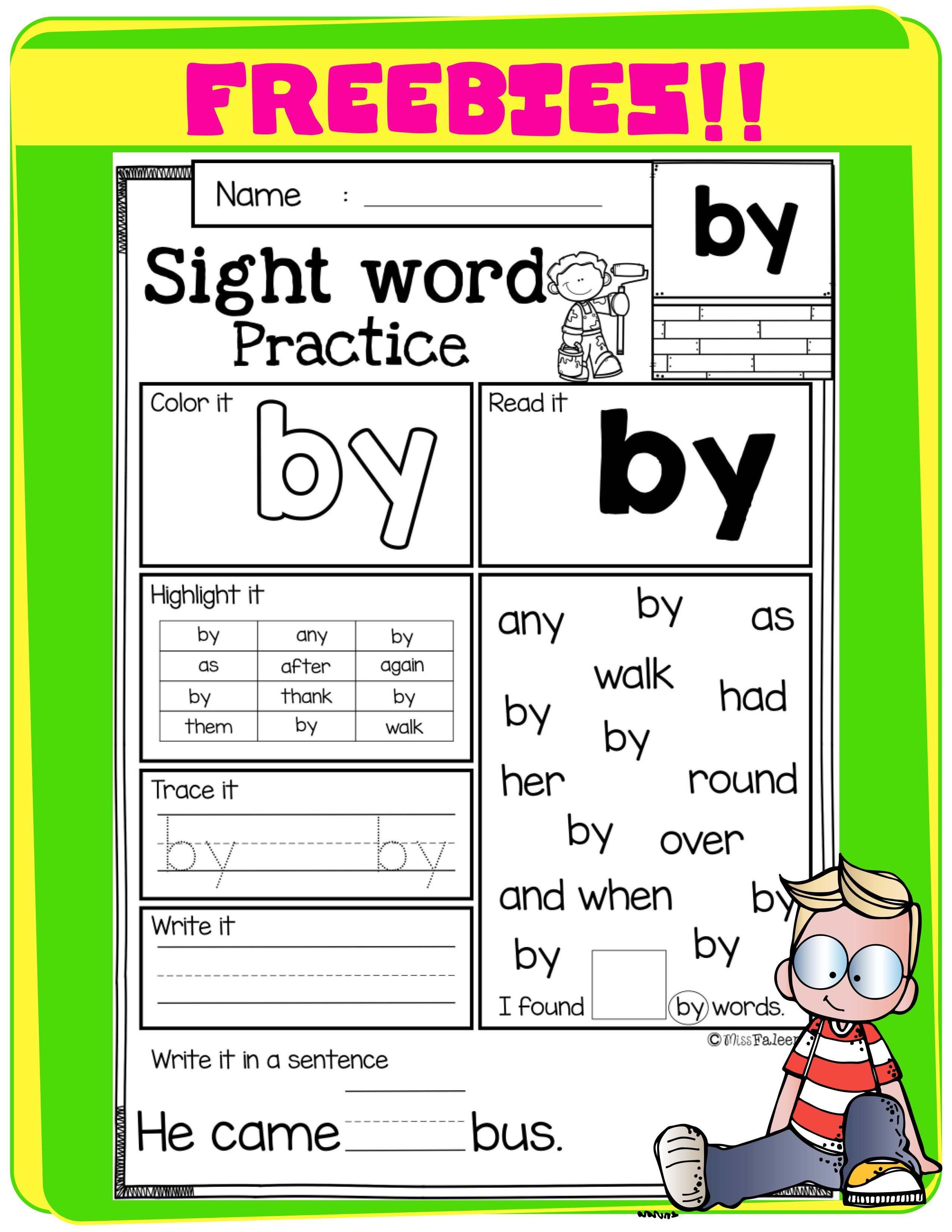 Free Sight Word Practice In With Images