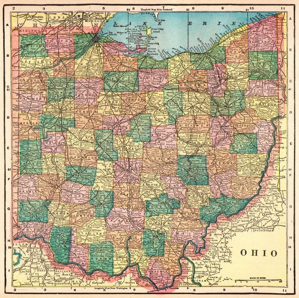 Antique Ohio Map.1904 Antique Ohio Map State Map Of Ohio Gallery Wall Art Original