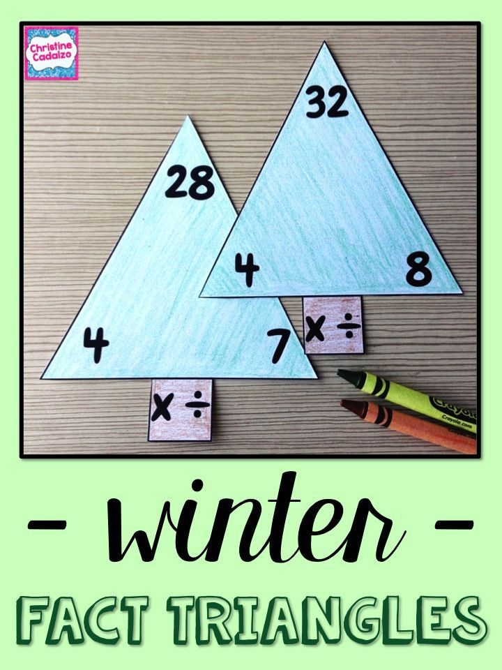 Winter Fact Triangles - Addition and Subtraction Facts | Math facts ...