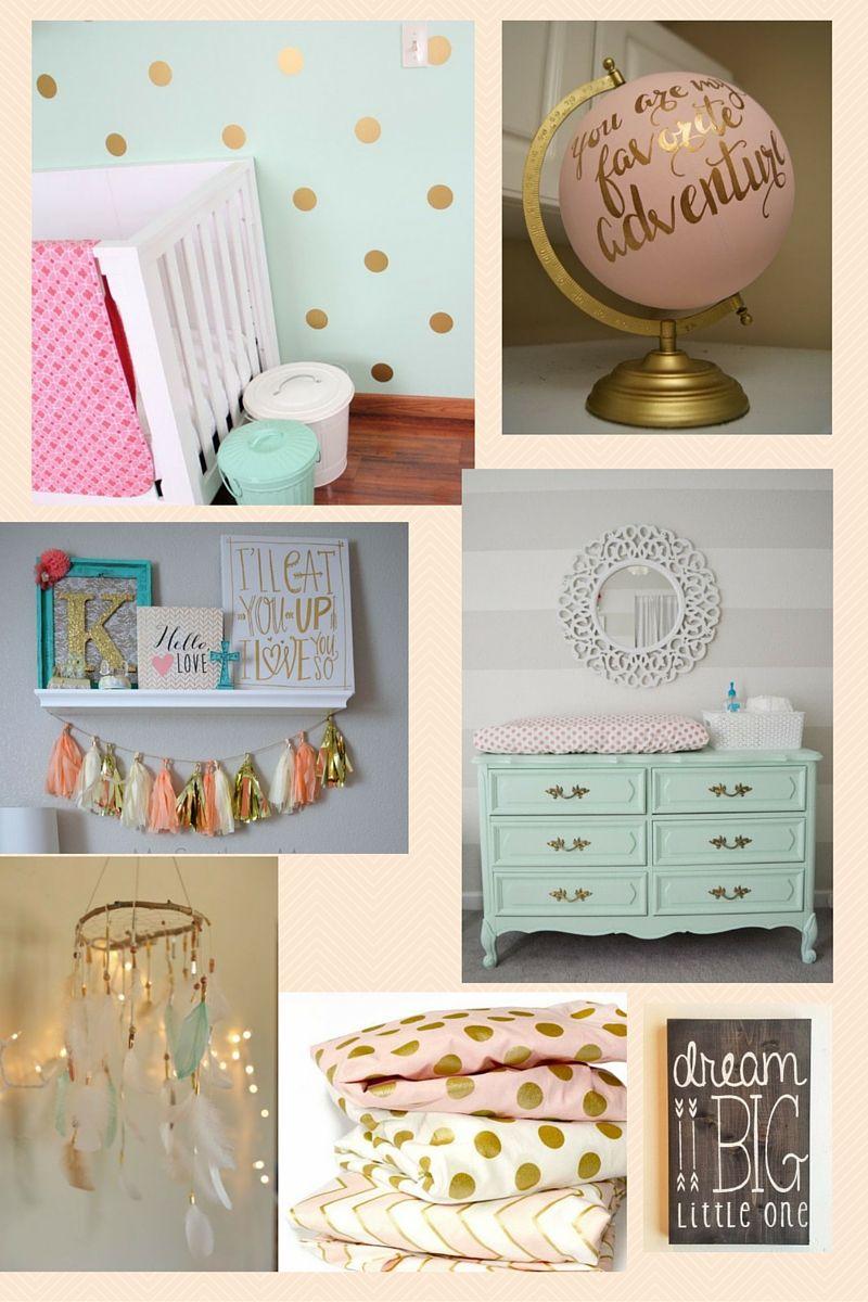 Gold, mint & Pinks-Mood Board #nurserydesign #bitoblog #bunintheoven http://babybunintheoven.com/gold-mint-pinks-mood-board-nurseyinspiration-getinspired/