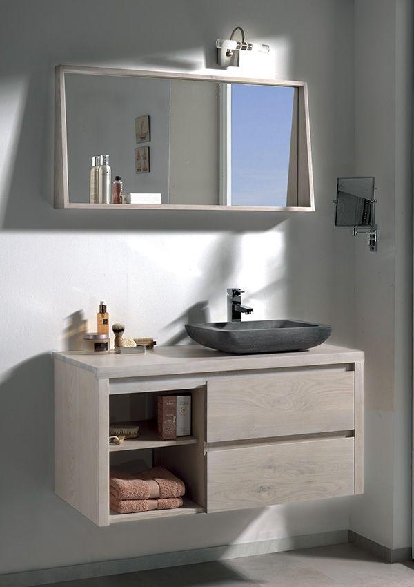Salle de bains STONE Chêne blanchi et pierre naturelle   de chez - meuble salle de bain pierre naturelle