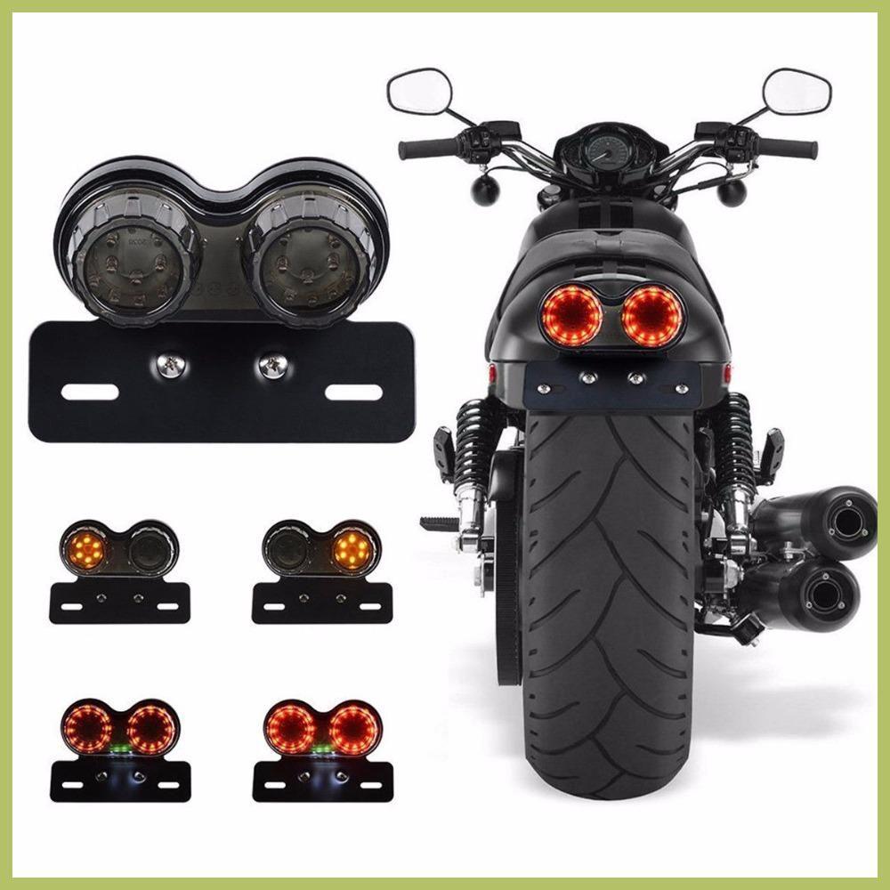 Black Motorcycle Brake Tail Light Lamp STOP For Harley Chopper Cafe Racer Bobber