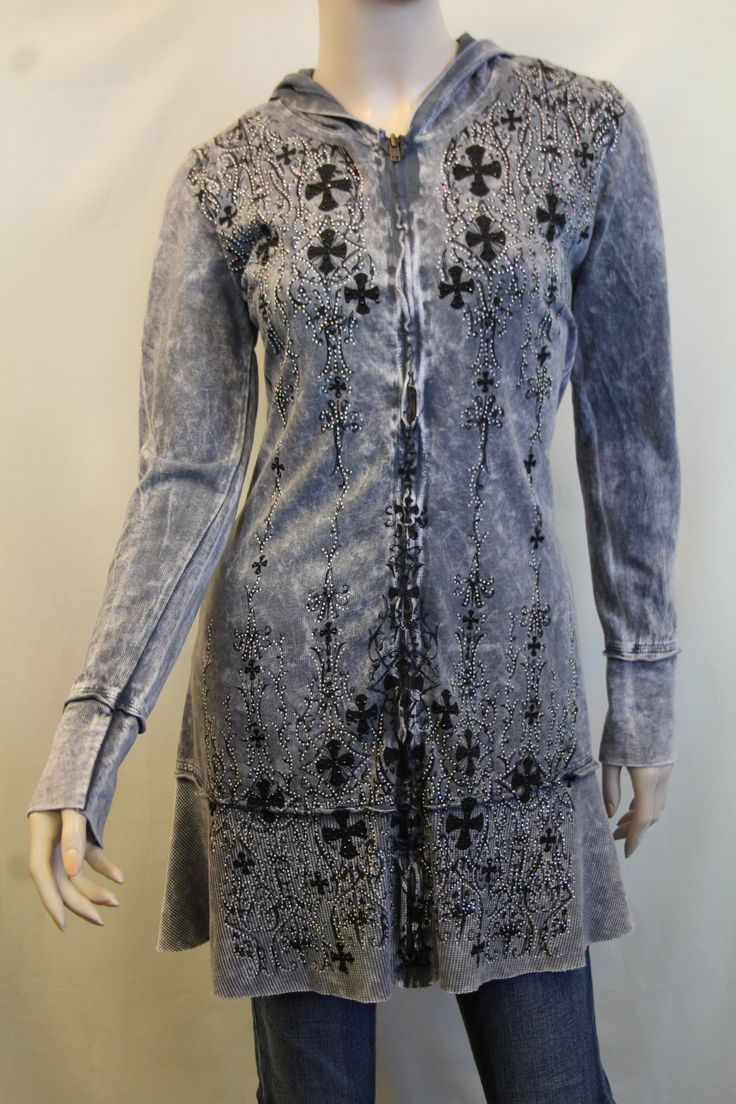 Vocal  Grey Tunic Jacket with Crosses Vocal  Grey Tunic Jacket with Crosses