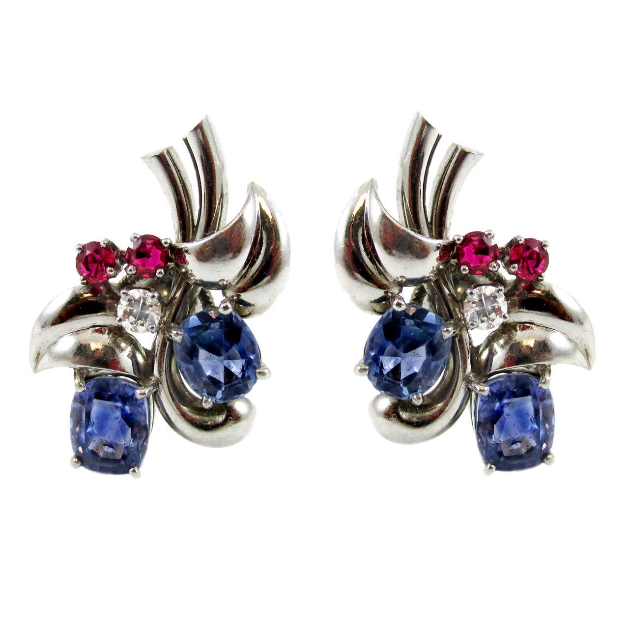 Raymond Yard Retro Sapphire Ruby Diamond Platinum Earclips | From a unique collection of vintage more earrings at https://www.1stdibs.com/jewelry/earrings/more-earrings/