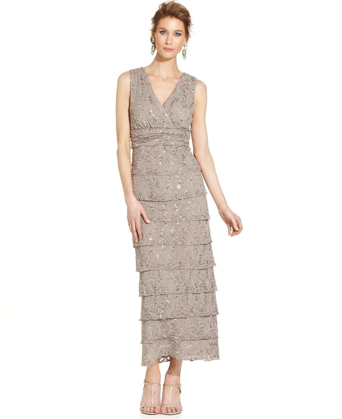 R&M Richards Sleeveless Sequin-Lace Tiered Dress http://picvpic ...