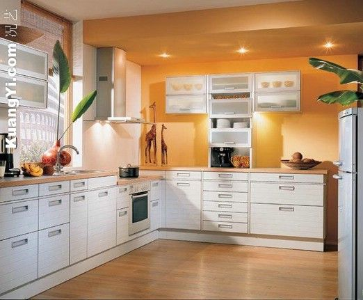 Orange and white kitchen cabinets decoration orange wall for White kitchen wall color