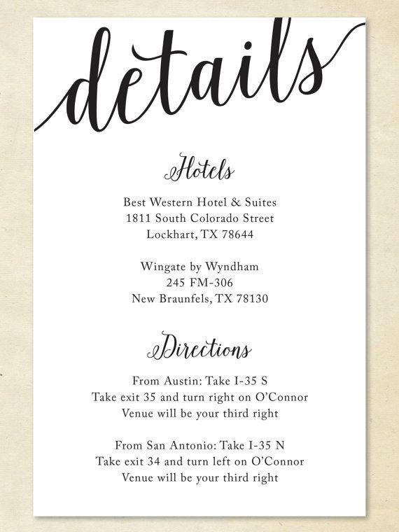 Wedding Details Card Formal Wi2 Wedding Details Card Wedding Invitation Details Card Wedding Invitations