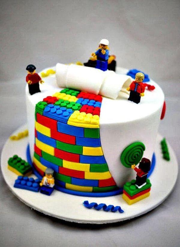 Ausgefallene Torten Dekoration Lego Torte Kindergeburtstag