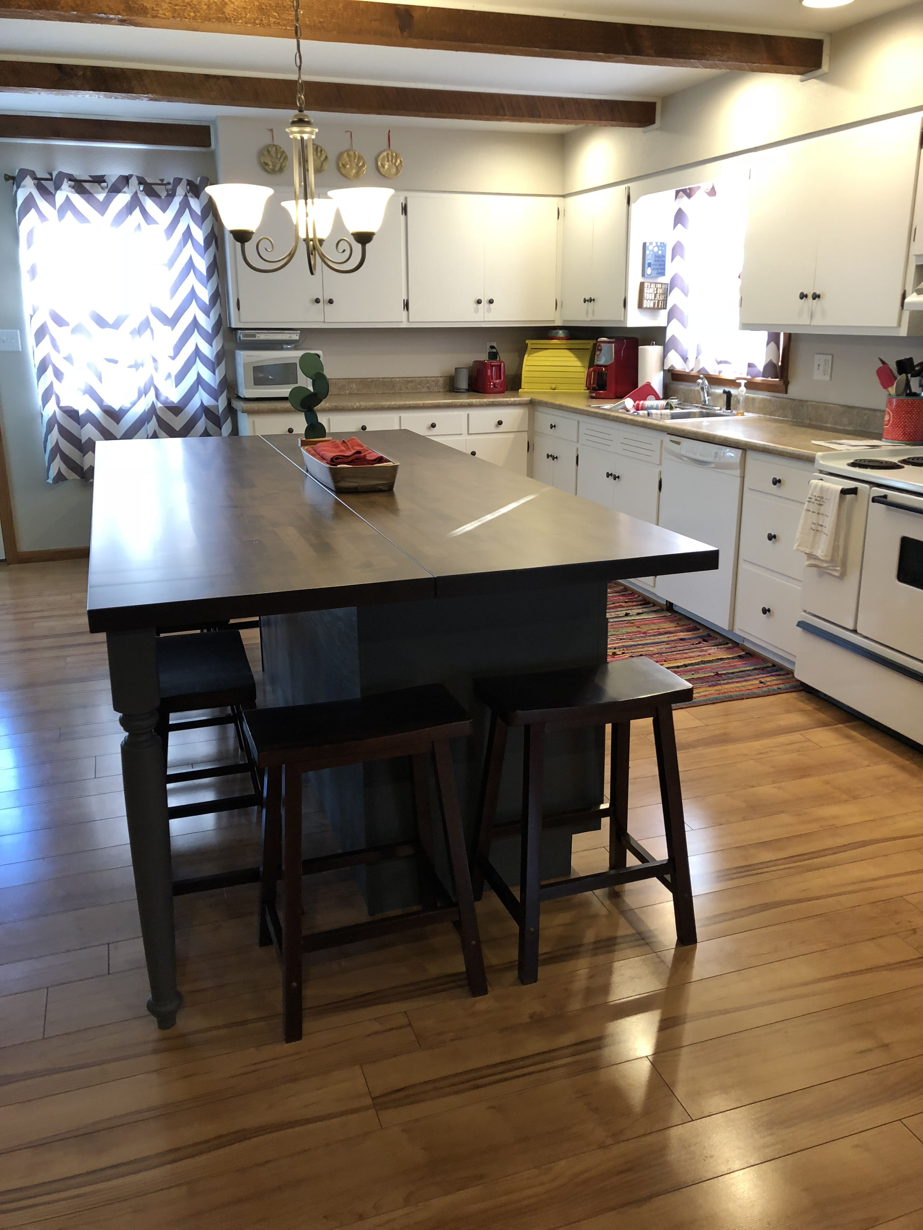 Diy kitchen island made with stock base and
