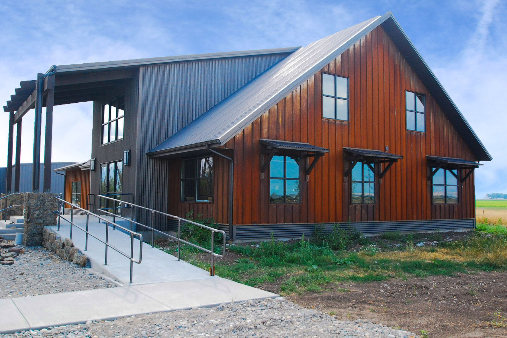 Natural Looking Buildings : Natural weathering steel ultra batten siding on office