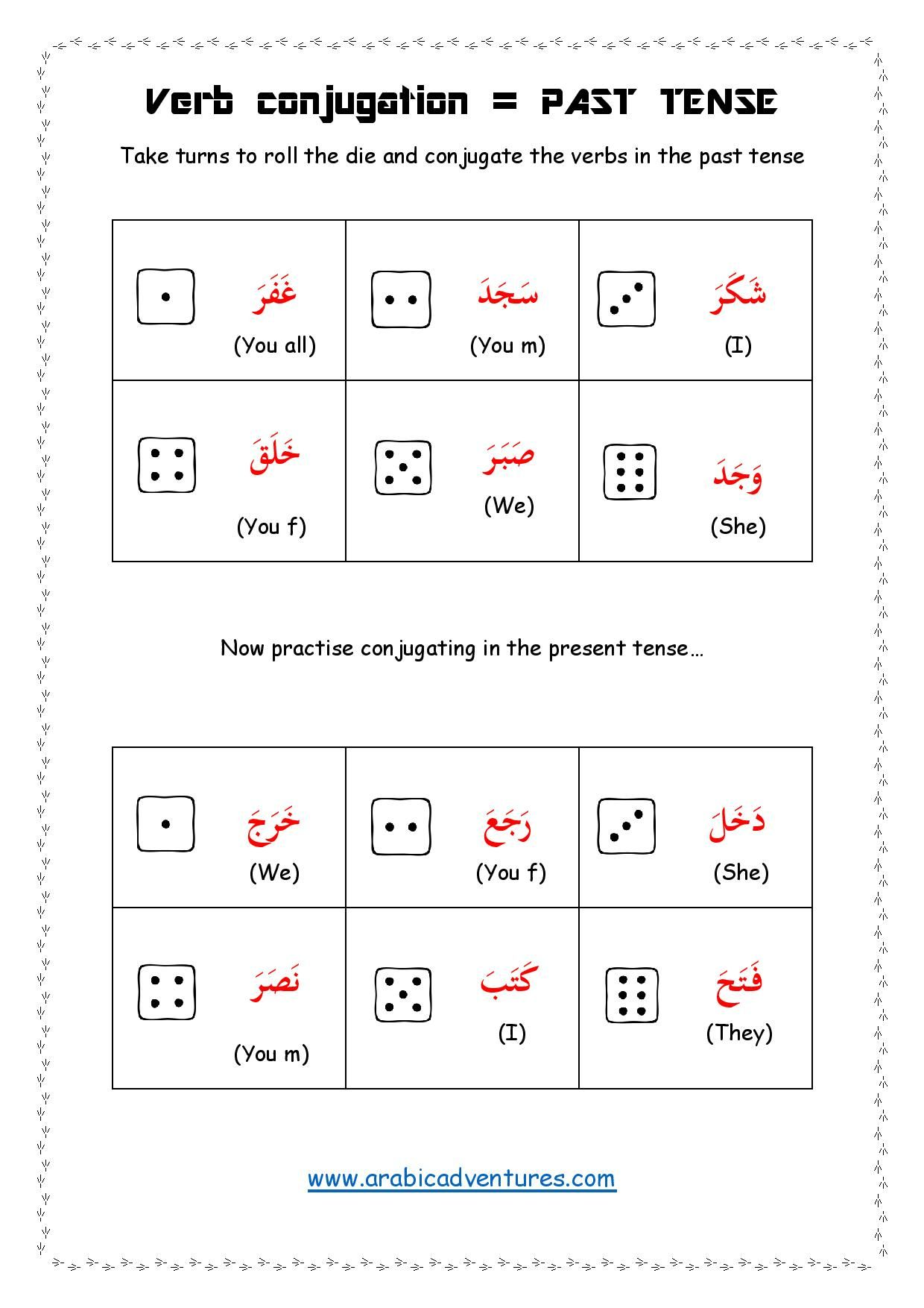 Arabic Verbs Conjugating Activity Past And Present Tense