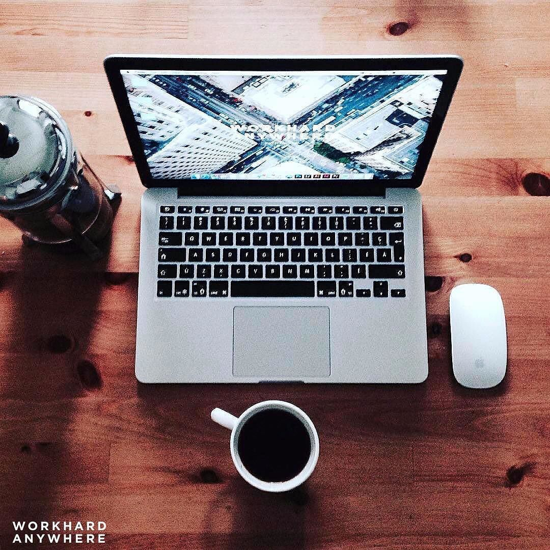 Brand manager and graphic designer Paul @paultrnsn likes his coffee black. His office of the day is in Montreal Canada #workhardanywhere ---- Use our app to find spaces like these to work from. ----  by: @paultrnsn Wallpaper collab with: @mightykills