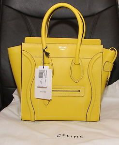 NWT Authentic Celine Citron Yellow MICRO Luggage Tote Purse Bag - Only one 3e8bd39719202