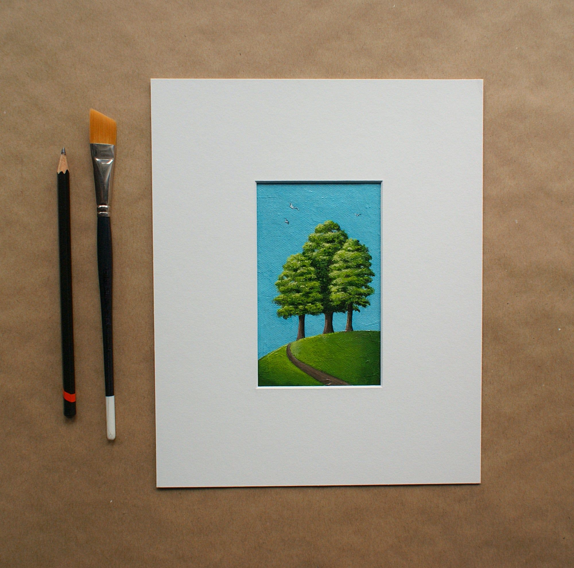 Small Original Artwork Tree Painting Green Trees Art Small Wall Art Nature Painting Green And Blue Art Art Within A 10x8 Inches Mount In 2020 Tree Painting Small Wall Art Nature Paintings