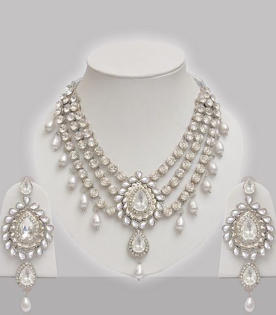 Silver Jewelry Set With Stones Pearls Jwellery In 2018