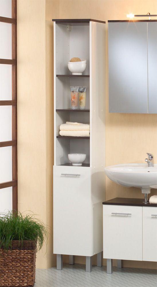 Badezimmer Hochschrank in Weiß-Wenge Günstig kaufen Jetzt - badezimmer kaufen