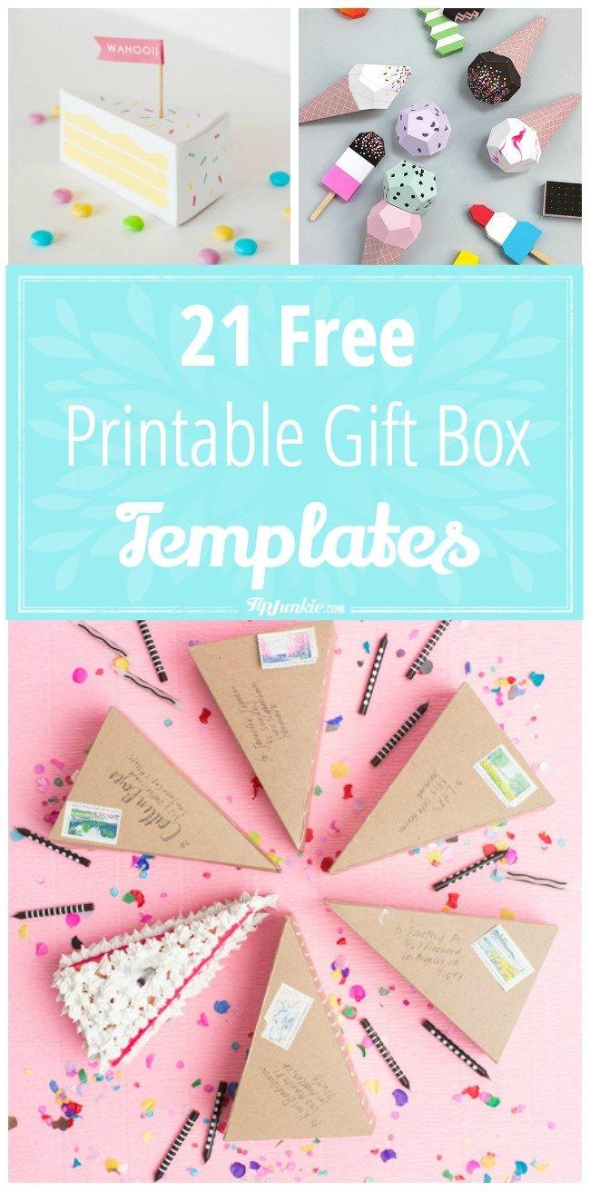 21 Free Printable Gift Box Templates Papercrafts Pinterest