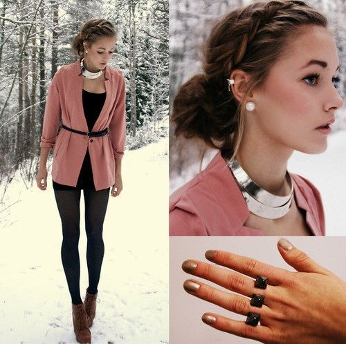 Cute winter outfit and the hair updo is lovely