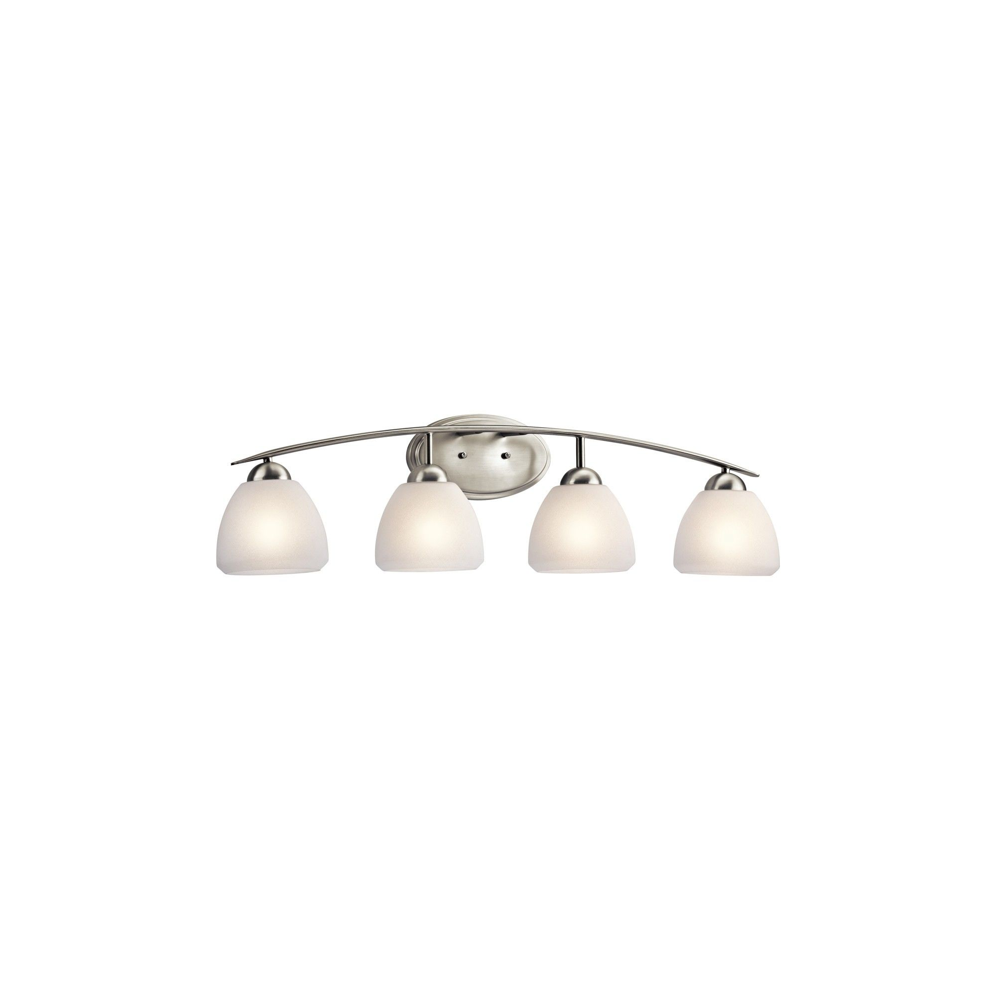 """Photo of Kichler 45120 Calleigh 4 Light 35 """"Wide Vanity Light bathroom tap with frosted glass shades – brushed nickel"""