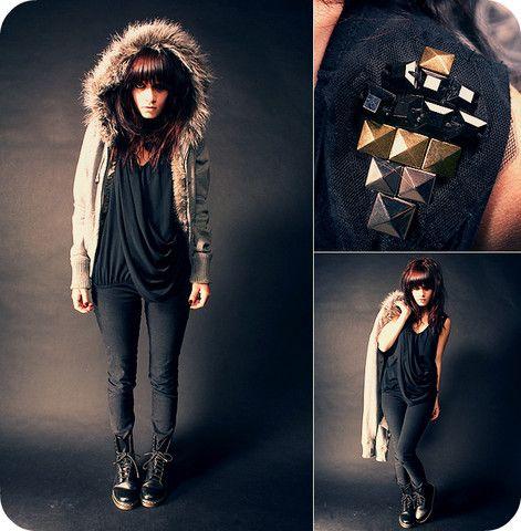 Bb Dakota Faux Fur Hoodie, Black Drape Shirt With Studs, Black Skinnies, Dr. Martens Boots,