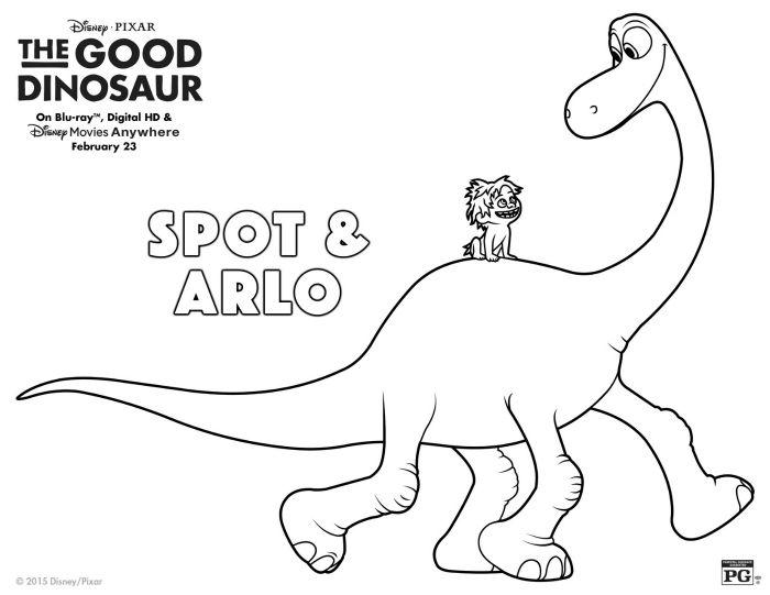 disney the good dinosaur spot & arlo coloring page