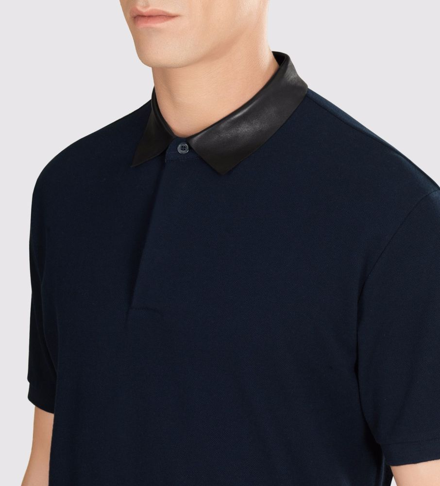 d6a587e95007 Gucci Blue Polo Shirt With Leather Collar Men s Size Med NWOT  Gucci   PoloRugby