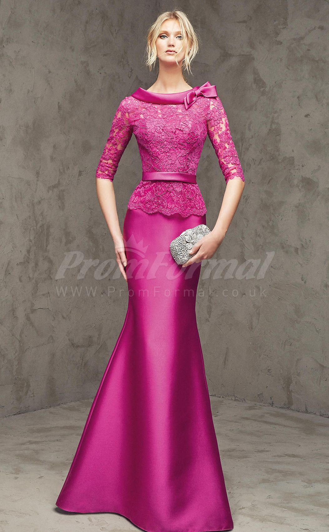Mother of the bride beach dresses for weddings  Timeless Fuchsia SatinLace Sweep Train Prom Dresses PRJT