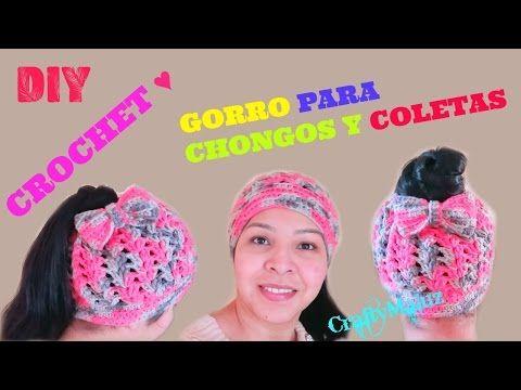 CROCHET ♥ GORRO para CHONGOS Y COLETAS gorros TEJIDOS paso a paso - YouTube 7b31a97349f