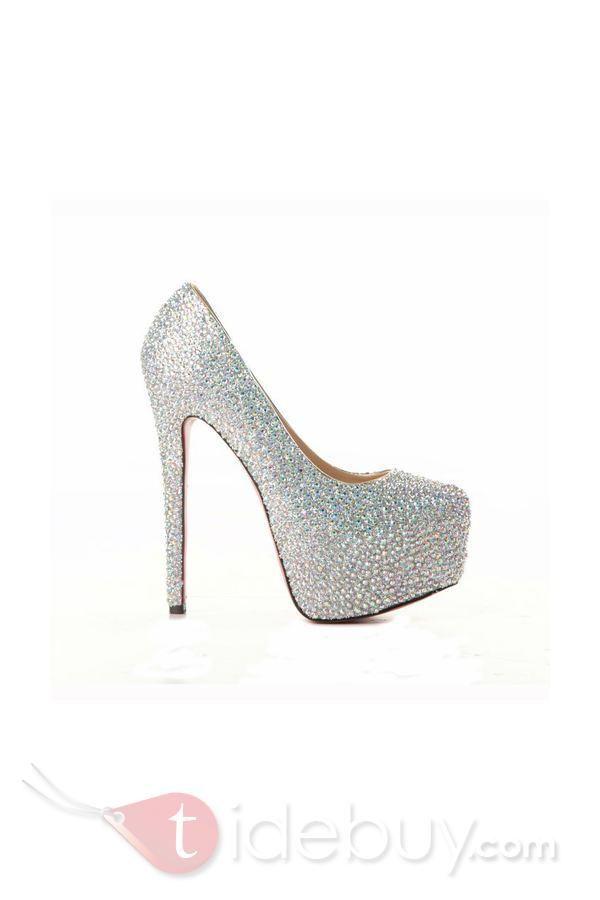 f3635e1b2a9 2012 Fall Shining Sheepskin Upper Stiletto Heel Round-toe Wedding Prom Shoes
