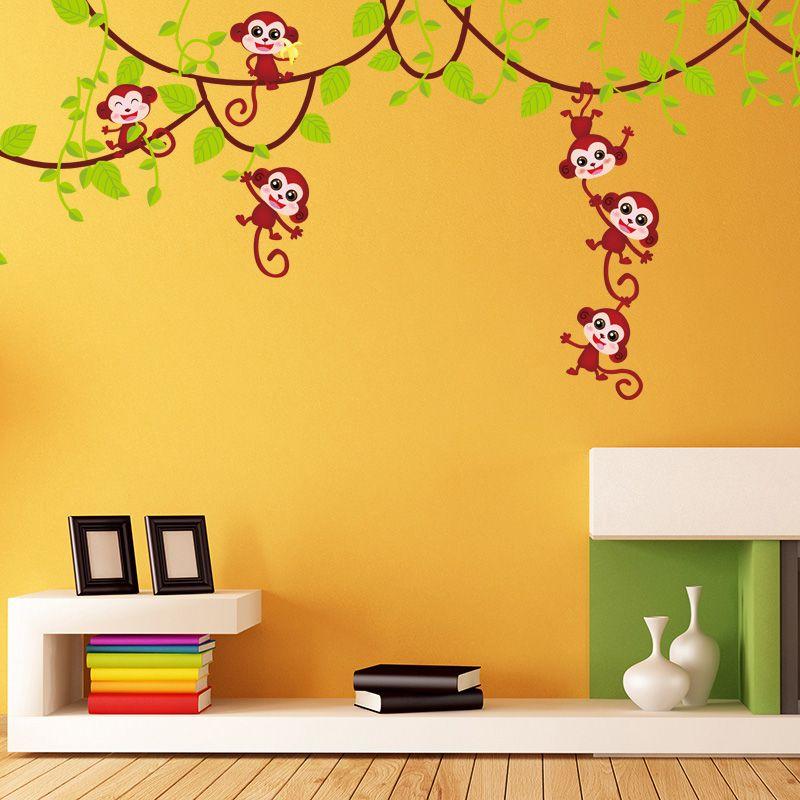 Monkey Wall Stickers Animal Climbing the Tree Wall Art Adesivo De ...