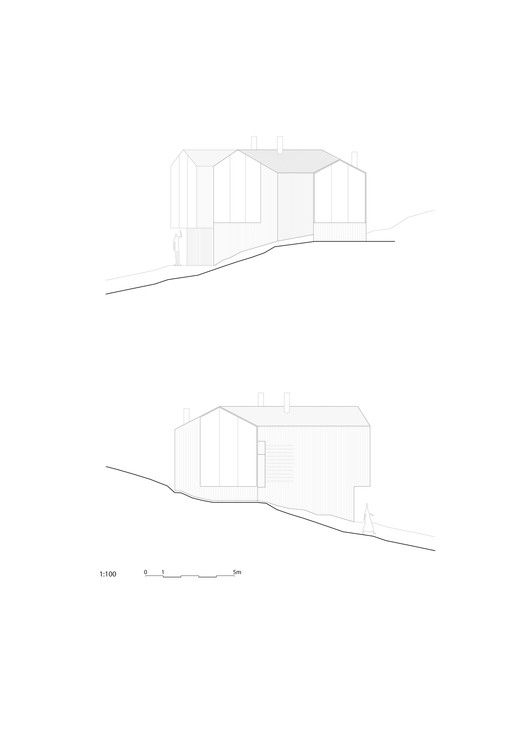 Split View Mountain Lodge,Elevations: East and West
