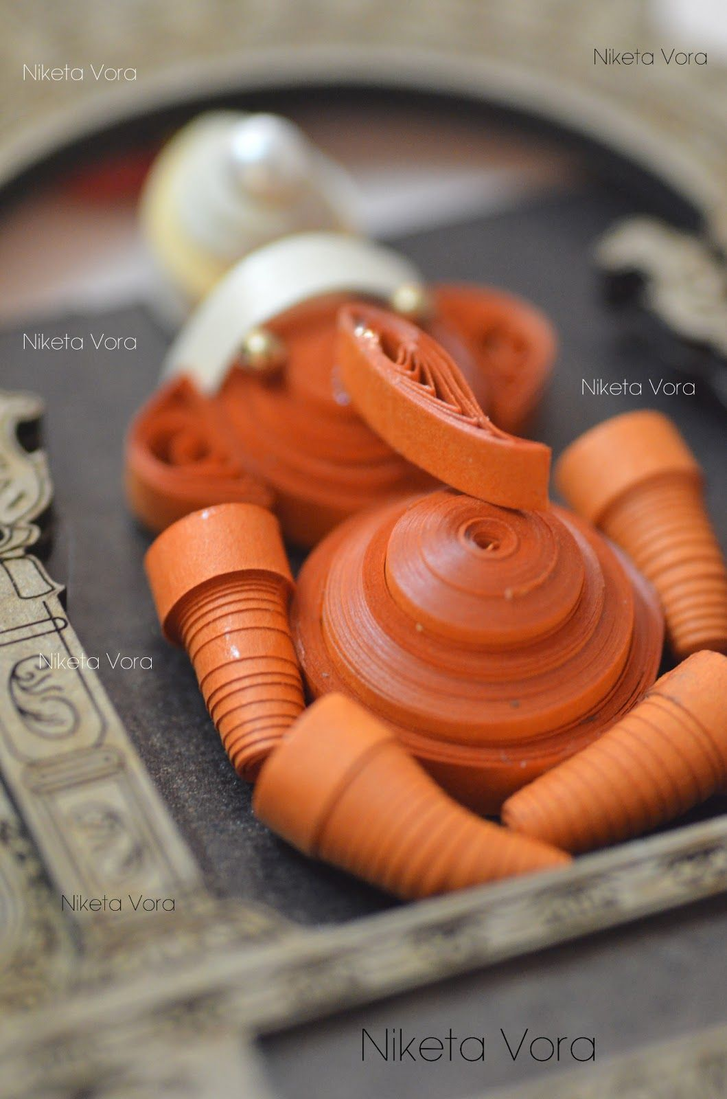 Wooden Wall Hanging Paper Quilled - Wall Decor- Ganpati Material: Frame is  made from