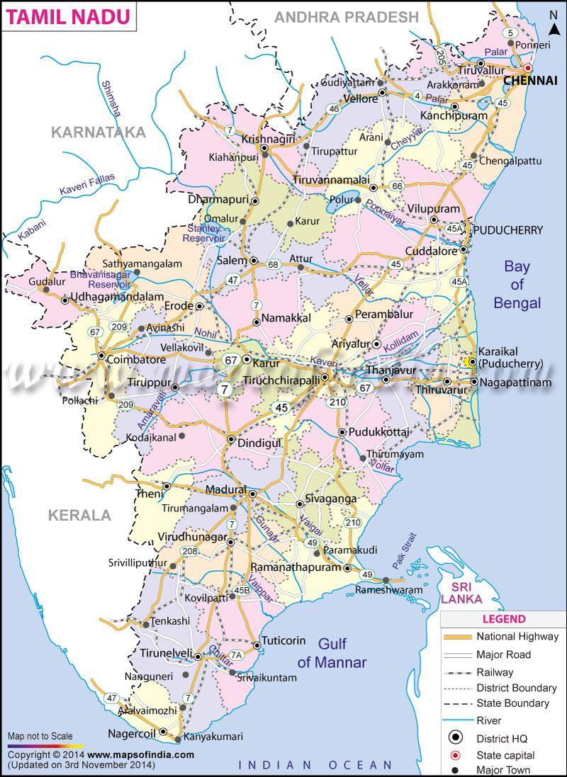 kanyakumari in india map Tamil Nadu Map State District Information And Facts India Map kanyakumari in india map