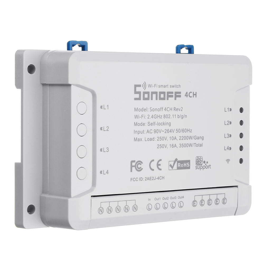 SONOFF® 4CH R2 4 Channel 10A 2200W 2 4Ghz Smart Home WIFI