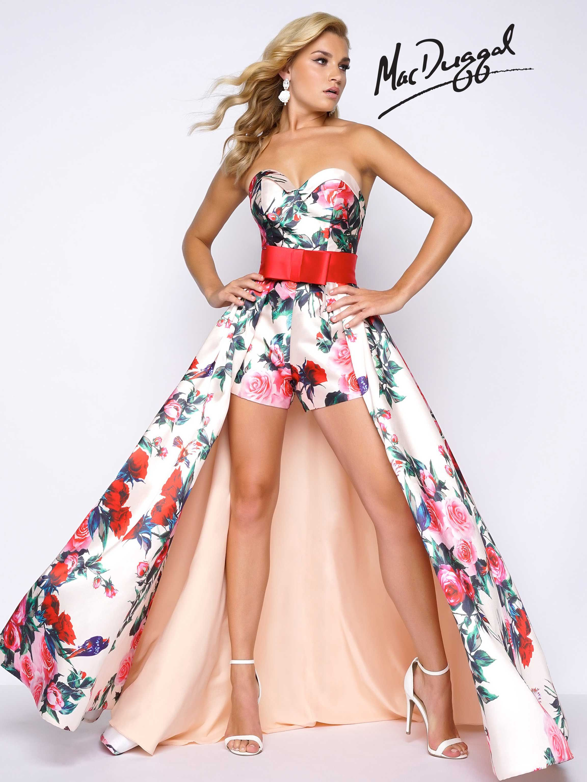Strapless, floral rose print romper with sweetheart neckline, and detachable overskirt with a bowed waistline.