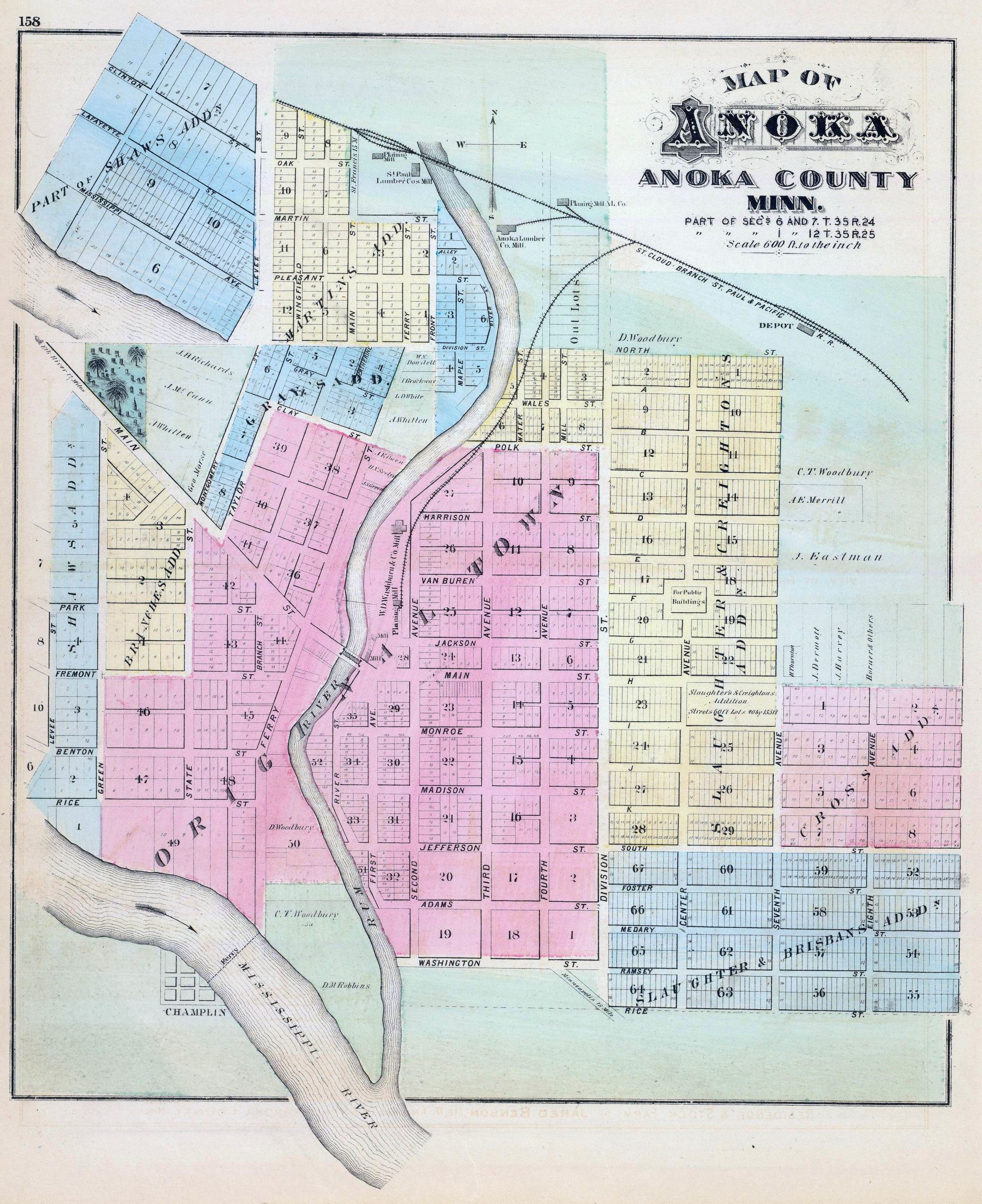 1874 map of Anoka, Minnesota Old maps, Map, Minnesota