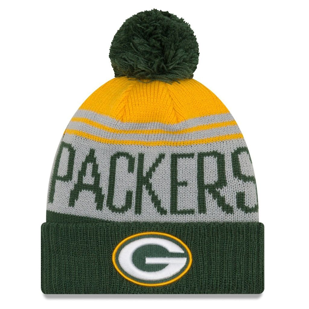 Men S New Era Gray Green Green Bay Packers Team Pride Cuffed Knit Hat With Pom Green Grey Knitted Hats Packers Team