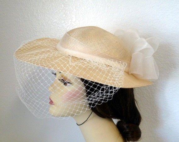 Vintage 1960s Straw Hat Wide Brim Veil Bow Wedding Bridal Etsy Straw Hat Veiled Hats Hats