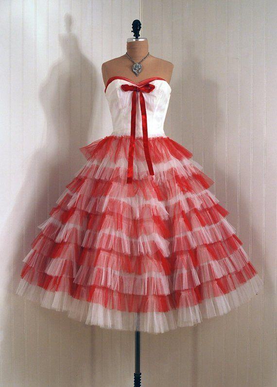 Party Dress: 1950\'s, tiered ruffled two-tone sheer net/tulle, velvet ...