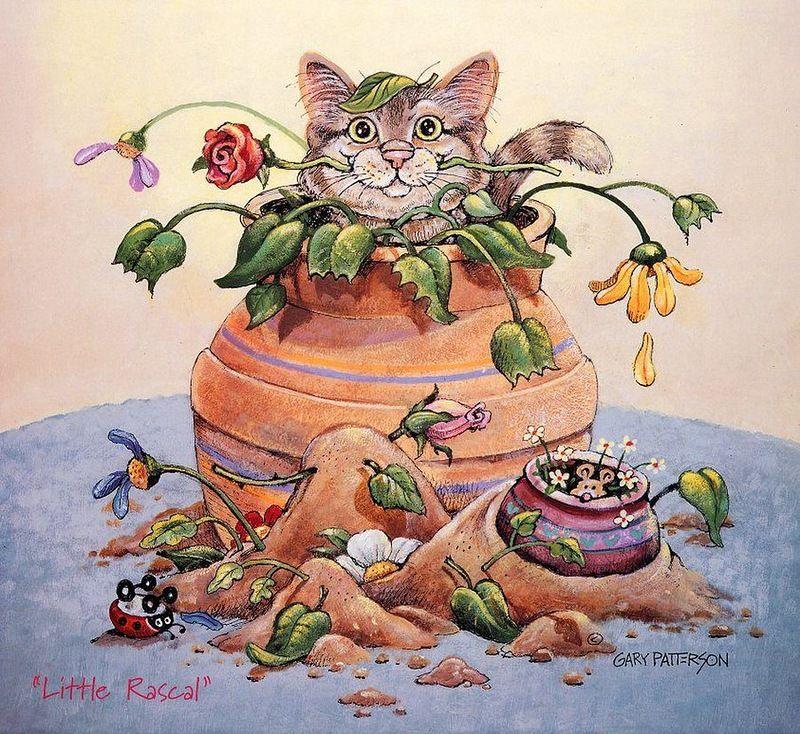Прикольные картинки коты декупаж