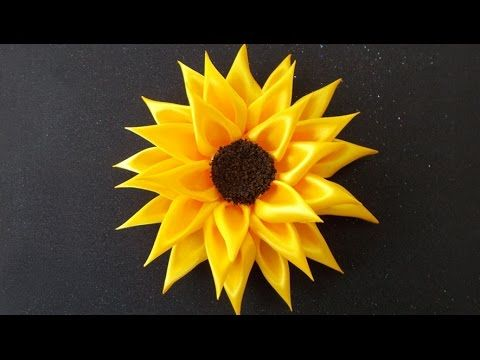 Diy For Girls How To Make Kanzashi Satin Ribbon Sunflower Ribbon Crafts Diy Satin Ribbon Flowers Fabric Flowers