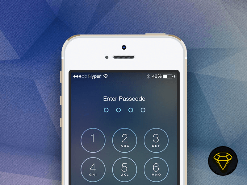 iOS 7 Lock with Passcode screen Unlock iphone, Iphone