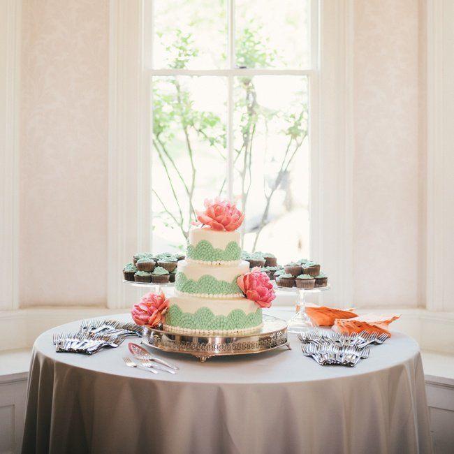 Seafoam Green Wedding Ideas: Three-Tiered Sea Foam Green Cake