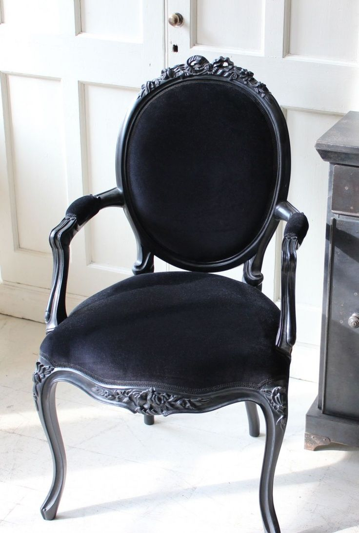 LOUIS STYLE BLACK VELVET CHAIR - guest chairs   Louis chairs