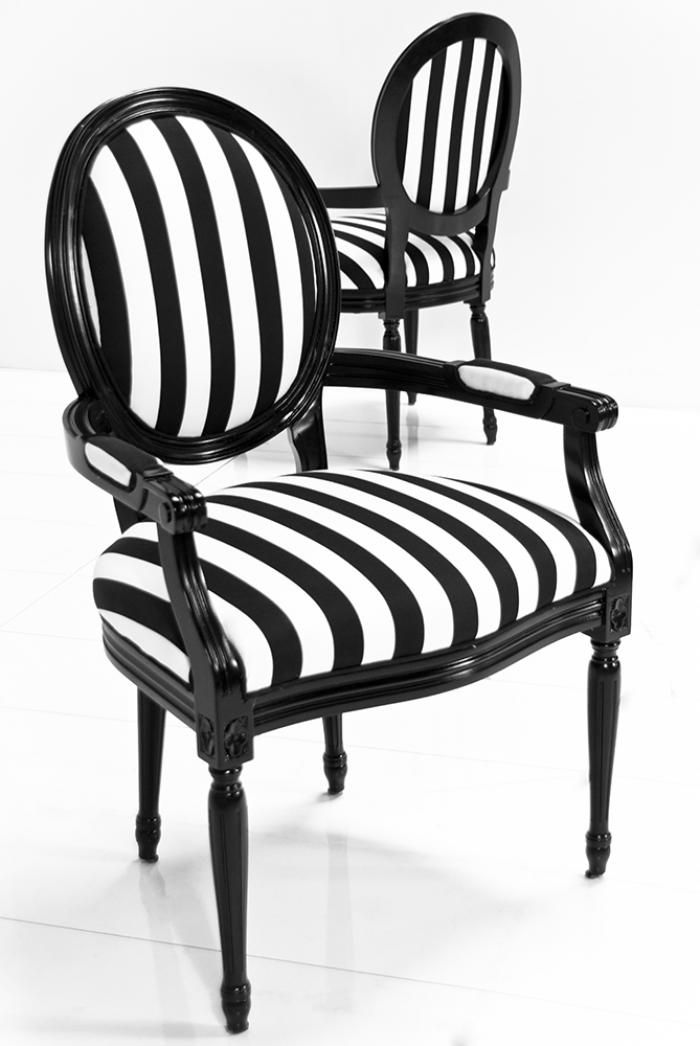 Louis Dining Arm Chair In Black U0026 White Stripe Fabric