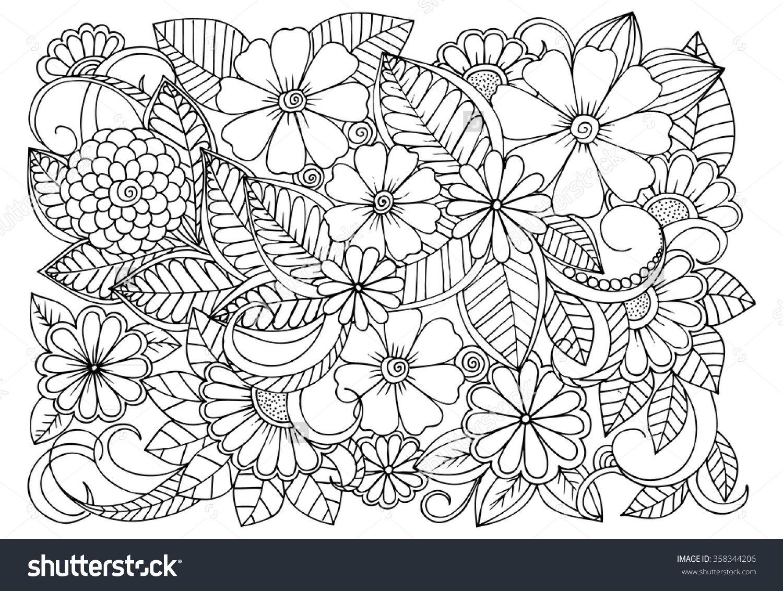 Siyah Beyaz Cicek Deseni Doodle Boyama Kitabi Icin Sayfa